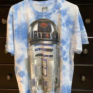 VTG R2D2 acid washed cloud blue white T shirt